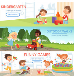 banners set with pictures of preschool kids with vector image