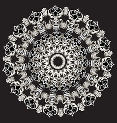 Baroque black and white floral round lace mandala vector