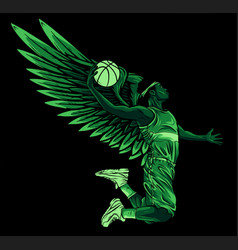 Basketball player with wing and ball vector