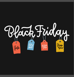 black friday lettering for sale with colorful vector image