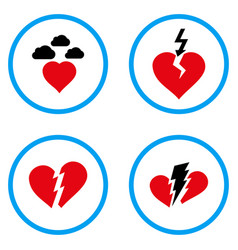 Broken heart rounded icons vector