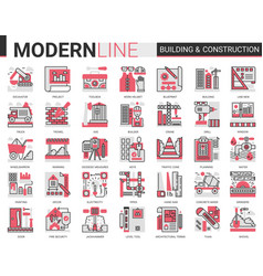 building construction complex red black line icons vector image