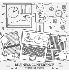 Business man giving a presentation Thin line icon vector image
