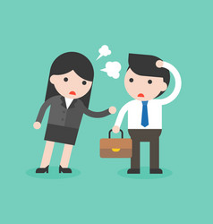 Business woman scolding on naive and dumb vector