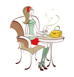cafe woman vector image