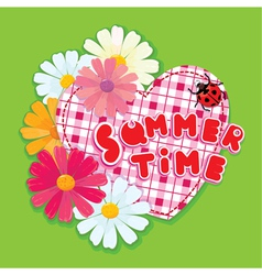 Checkered Heart ladybird and daisies on a green b vector image