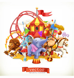 Circus funny animals elephant monkey lion horse 3d vector