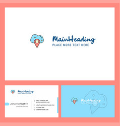 cloud navigation logo design with tagline front vector image