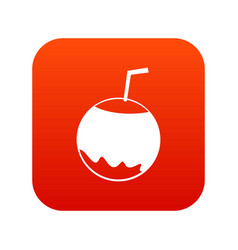 coconut with straw icon digital red vector image