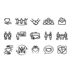 collection business and friendship icons vector image