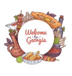 Cover for menu traditional georgian cuisine vector