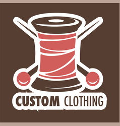 Custom clothing shop icon threads coil and needles vector