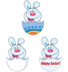Cute blue bunny collection vector