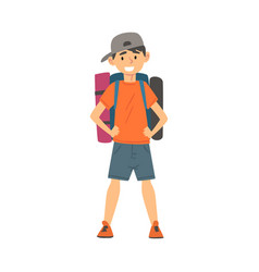 Cute boy standing with backpack kid travelling on vector