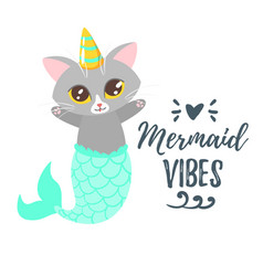 Cute cat with unicorn horn vector