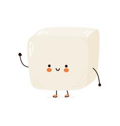 cute funny tofu character hand drawn vector image