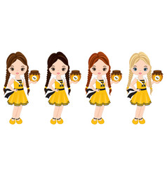 Cute little girls with honey jar vector