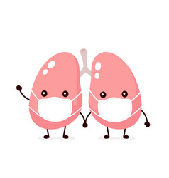 Cute lungs organ in medical mask flat vector