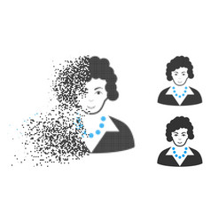 dissolved pixel halftone brunette lady icon with vector image