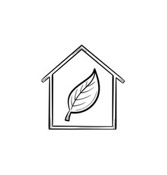 ecology friendly house with leaf hand drawn icon vector image