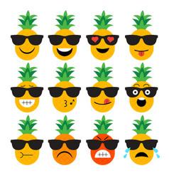 Emojis pineapple fruit summer set emotional vector