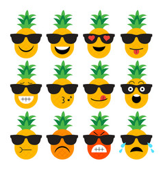 Emojis pineapple fruit summer set of emotional vector