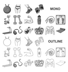 Fitness and attributes monochrom icons in set vector