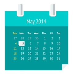 Flat calendar page for May 2014 vector image