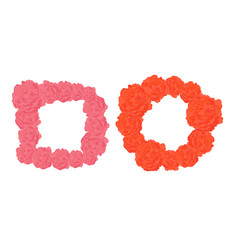 frames of pink and orange roses vector image