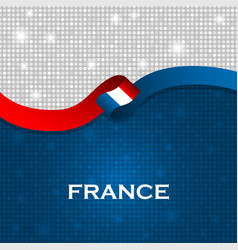 France flag ribbon shiny particle style vector