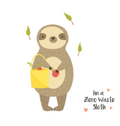 funny cute sloth with eco bag and fruits vector image