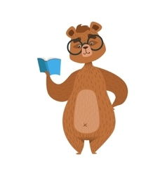 Girly Cartoon Brown Bear Character In Glasses vector image