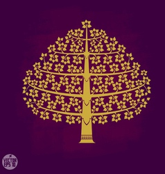 Gold Bodhi tree in Thai art style vector image