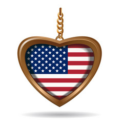 Gold medallion in shape heart with us flag vector