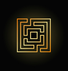 Gold square maze or labyrinth icon vector