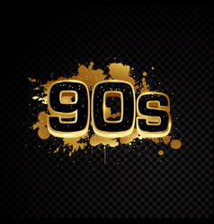 golden 90s abstract design isolated on black vector image