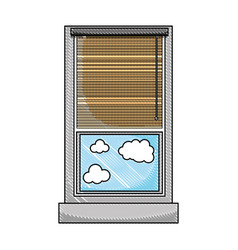 Grated window with curtain blind open and clouds vector