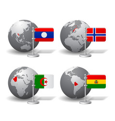 gray earth globes with designation of laos vector image