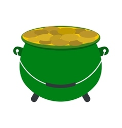 Green pot full of gold coins icon vector image