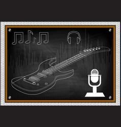 Guitar on a black vector