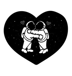 Hand drawn astronaut couple hugging in space w vector