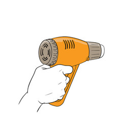 Hand holding hot blower vector