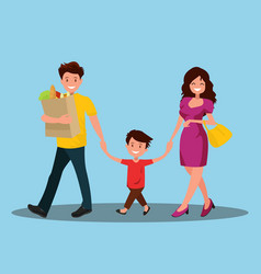 happy family dad mom and son are going home vector image