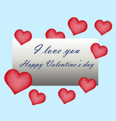happy valentine day greeting card hand written vector image