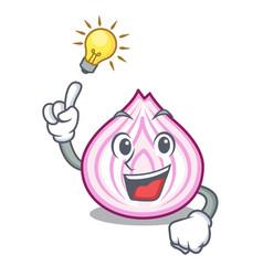 Have an idea fresh slice onion isolated on mascot vector