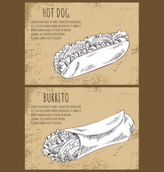 hot dog and burrito posters vector image
