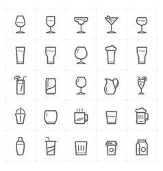 icon set - glass and beverage outline stroke vector image