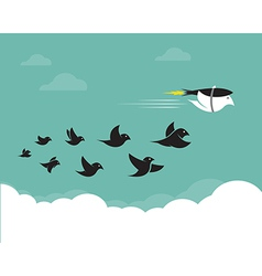 Images of birds and rockets in the sky vector