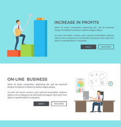 increase in profits online vector image