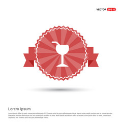 juice glass icon - red ribbon banner vector image